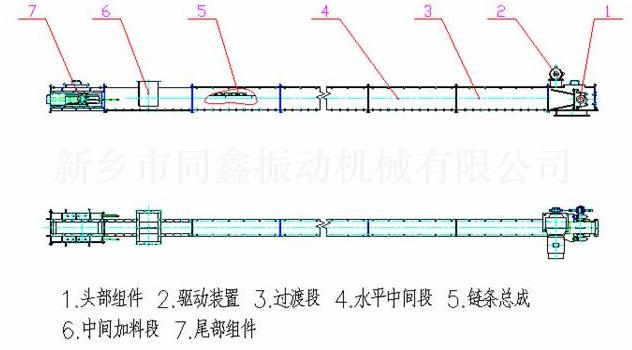 MS型水平刮板输送机外形结构示意图